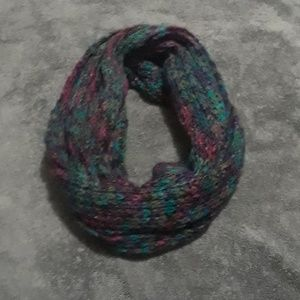 Multi colored hand knitted scarf
